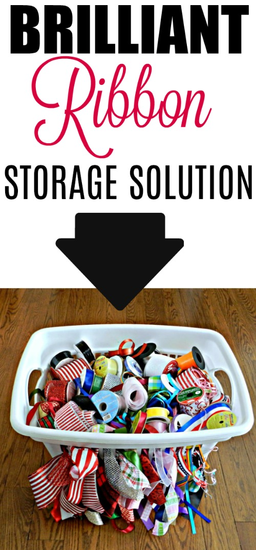 3 Clever Household Storage Clean-up Tips...I've never seen this ribbon storage idea done with a laundry basket!