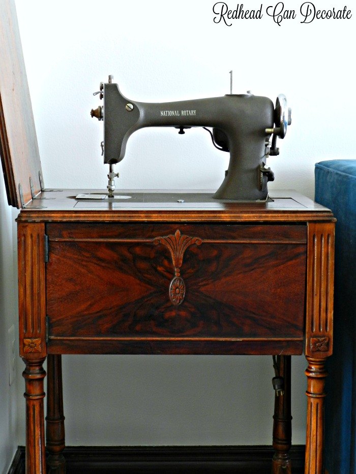 Antique Sewing Machine Table Value : antique, sewing, machine, table, value, Vintage, Sewing, Machine, Table, Makeover, Without, Refinishing/Painting, Redhead, Decorate