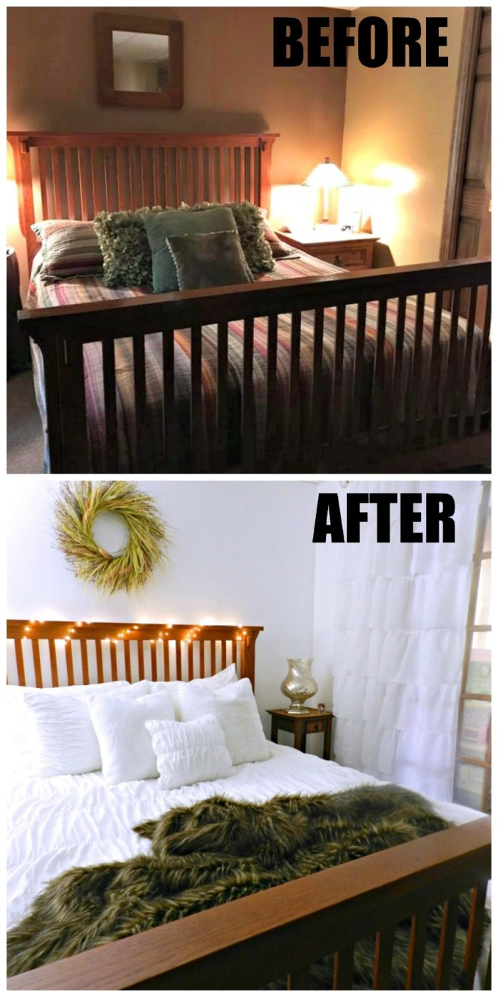 This beautiful basement guest room makeover transformation is so beautiful, and she did it on a tight budget!