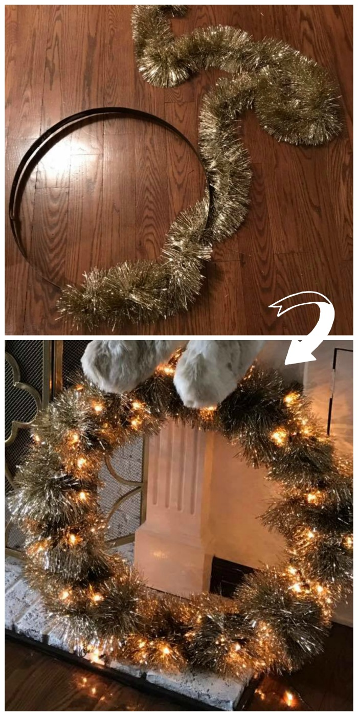 Wrap garland around a hula hoop or whiskey barrel hoop to make this stunning gold Christmas wreath!