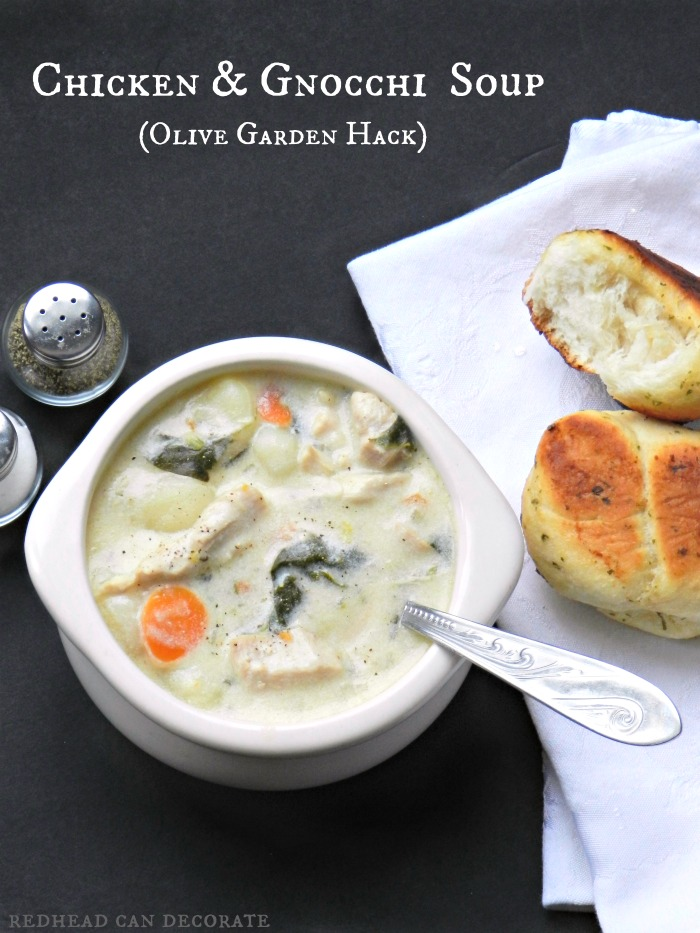 The best Olive Garden Chicken & Gnocchi Soup Hack you will ever find! Just look at how creamy and savory that soup looks!