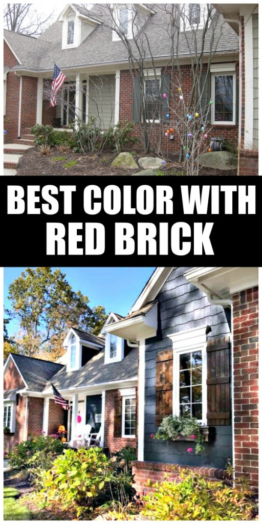 Best House Paint Colors with Red Brick includes exterior custom paint colors developed by professional blogger redheadcandecorate.com for her family's Cape Cod home in Michigan.  She includes the exact custom formula that you can not find on shelves.