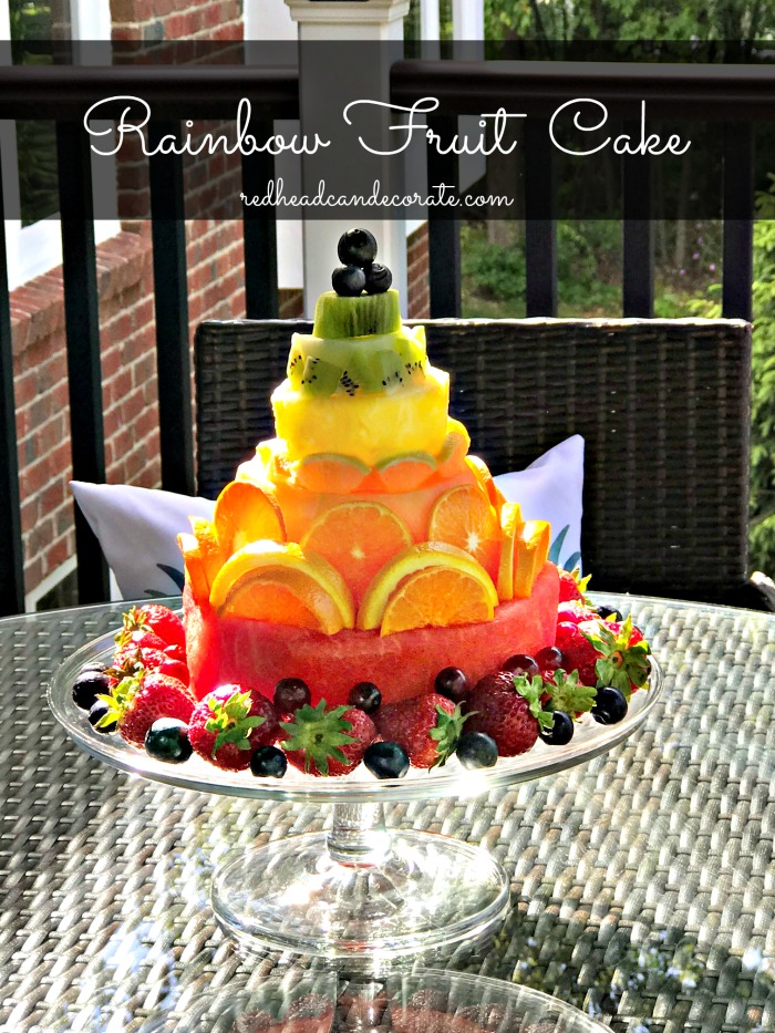This Rainbow Fruit Cake is so beautiful and would make the perfect conversation starter for your next social gathering.  The full tutorial is included!
