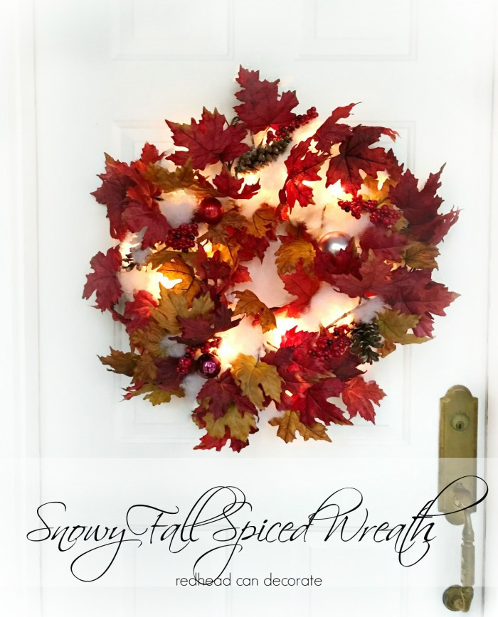 This DIY simple Snowy Fall Spiced Wreath captures both fall and winter in a beautiful wreath that can be made on a tight budget.