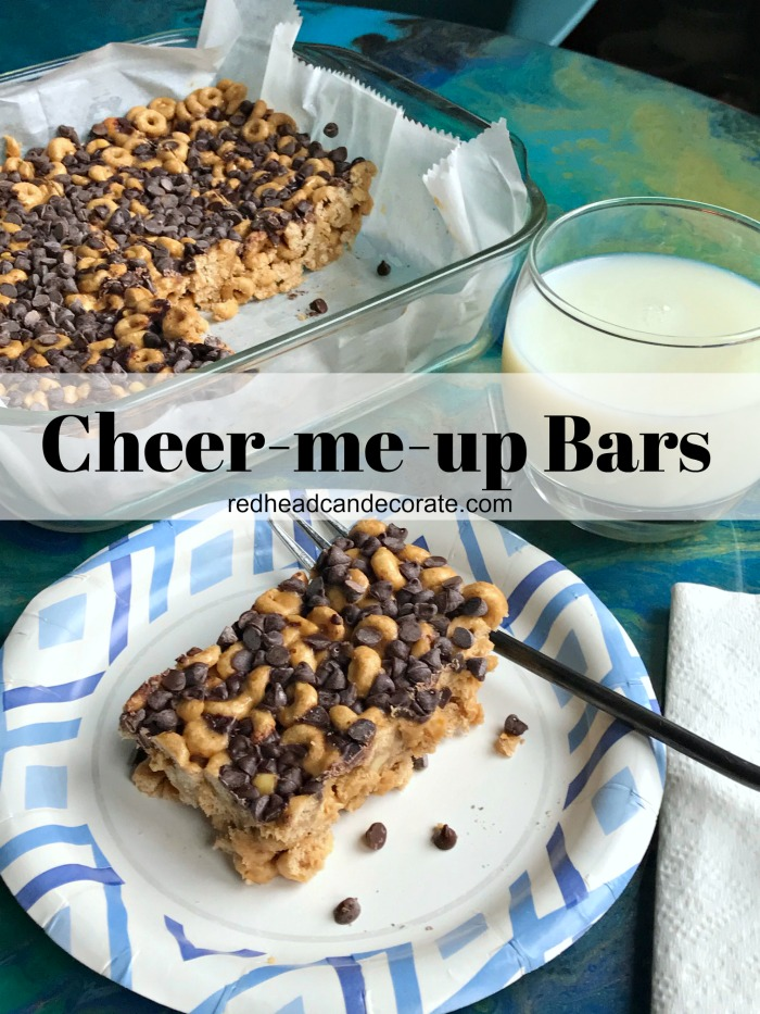 These yummy Cheerio Cheer-Me-Up Bars have a light crunchy texture similar to Rice Krispie treats that is accompanied with the familiar taste of a Reese's peanut butter cup.  The combination of Cheerios, peanut butter, and chocolate make for a very satisfying, healthy treat that can be eaten for breakfast, dessert, or both.
