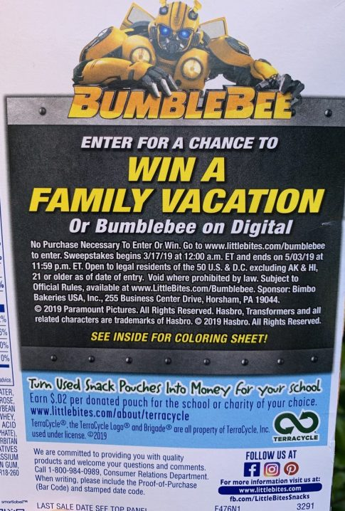 Entenmann's Little Bites Bumblebee Sweepstakes