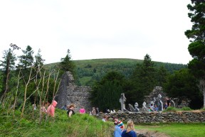 Tourists at St Kevin`s Monastery