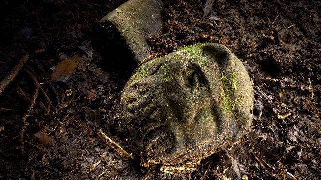 """Cabeza de """"hombre-jaguar"""" encontrada en la Ciudad Blanca."""