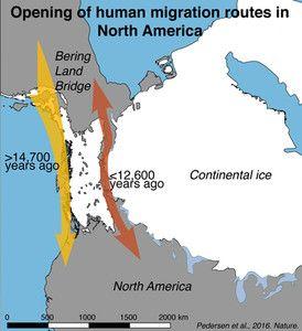 Mapa de la apertura del Estrecho de Bering que pone en duda la teoría más aceptada del poblamiento de América.