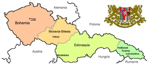 mapa checoslovaquia