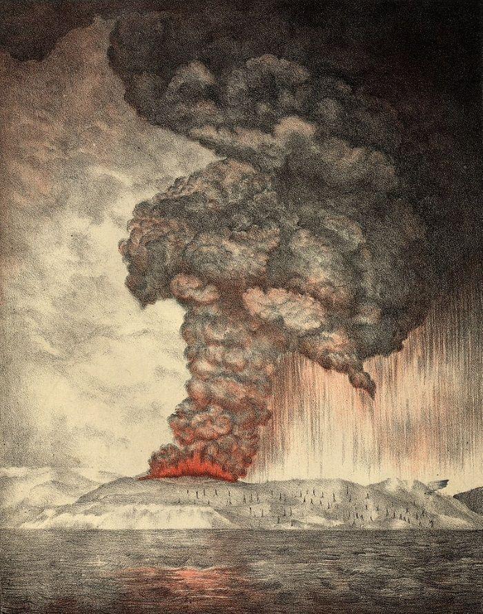 explosion krakatoa litografia