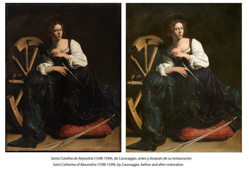 antes y despues santa catalina de alejandria caravaggio