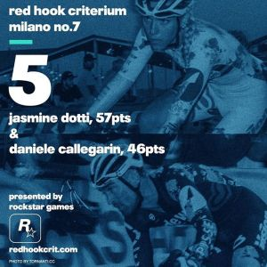 Jasmine Dotti (Ridewill Oscar Cycling) 57 points Brooklyn No.9 (Qualifying: 12th / Race: dnf) London No.2 (Qualifying: 4th / Race: 2nd) Barcelona No.4 (Qualifying: 5th / Race: 3rd) -----------------------------------------------Daniele Callegarin (Ridewill Oscar Cycling) 46 points Brooklyn No.9 (Qualifying: 15th / Race: 4th) London No.2 (Qualifying: 15th / Race: 5th) Barcelona No.4 (Qualifying: dns / Race: dns)