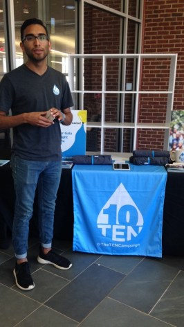 Student body president promoting The Ten Campaign