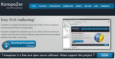 kompozer, html editor, design web pages