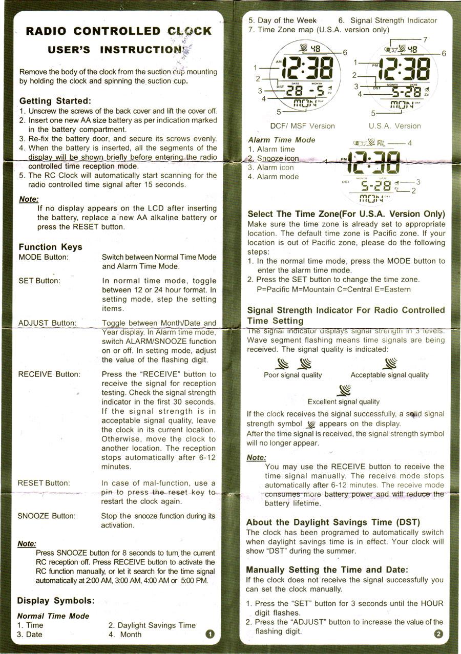 talking alarm clock instructions unique alarm clock rh alarmclock sfegotist com Digital Atomic Clock Sentry Radio Controlled Clock Manual