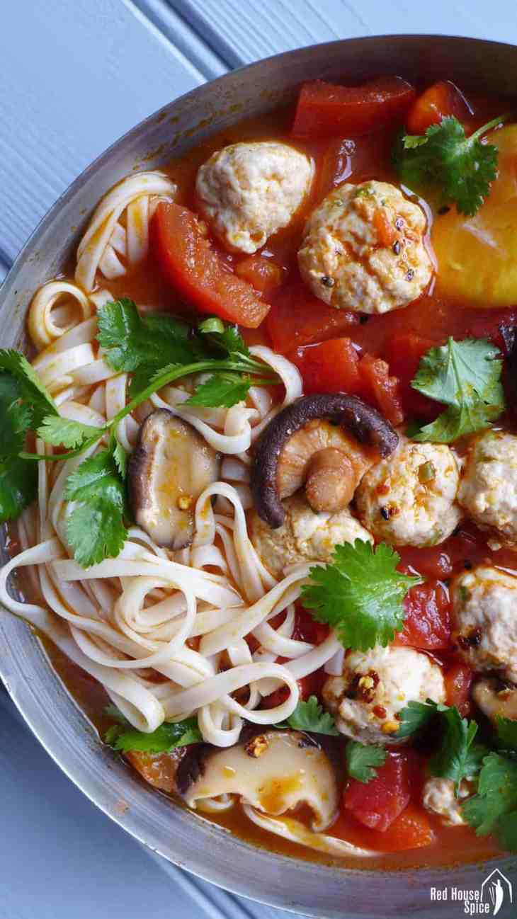 Chicken meatball noodle soup red house spice tender and springy meatballs cooked in tomato and shiitake soup this chicken meatball noodle soup forumfinder Image collections