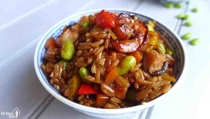 """Want to make """"fried rice"""" but no cooked rice available? This Chinese soy sauce rice pilaf comes to the rescue. Easy to prepare and better than takeaway."""