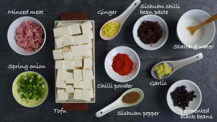 A group of ingredients for cooking mayo tofu