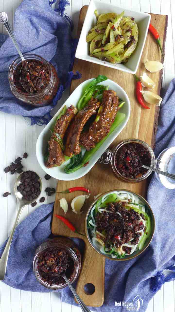 Three dishes made with spicy black bean sauce.