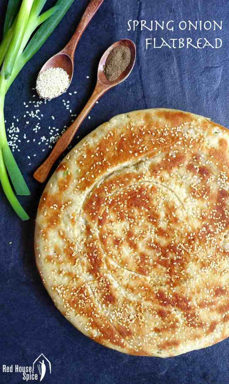Beautifully seasoned, crispy on the surface and fluffy inside, this leavened spring onion flatbread only takes 10 mins to cook in a pan.