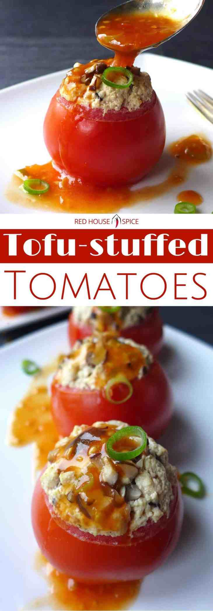 Juicy tomatoes are hollowed and steamed with well seasoned tofu crumbs, then served with a sweet and sour sauce made from the pulp of the tomatoes.