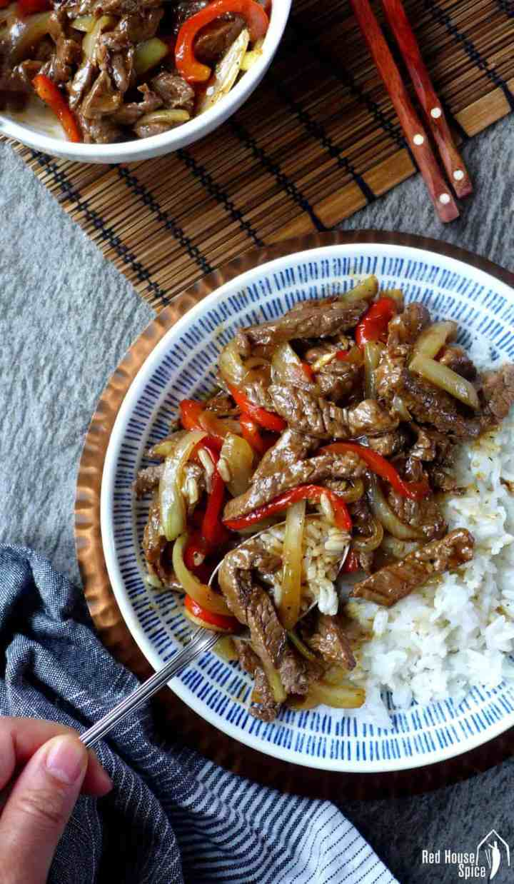 Tender and succulent beef strips with a black pepper flavoured sauce, Chinese black pepper beef stir-fry can be made at home to a restaurant standard.