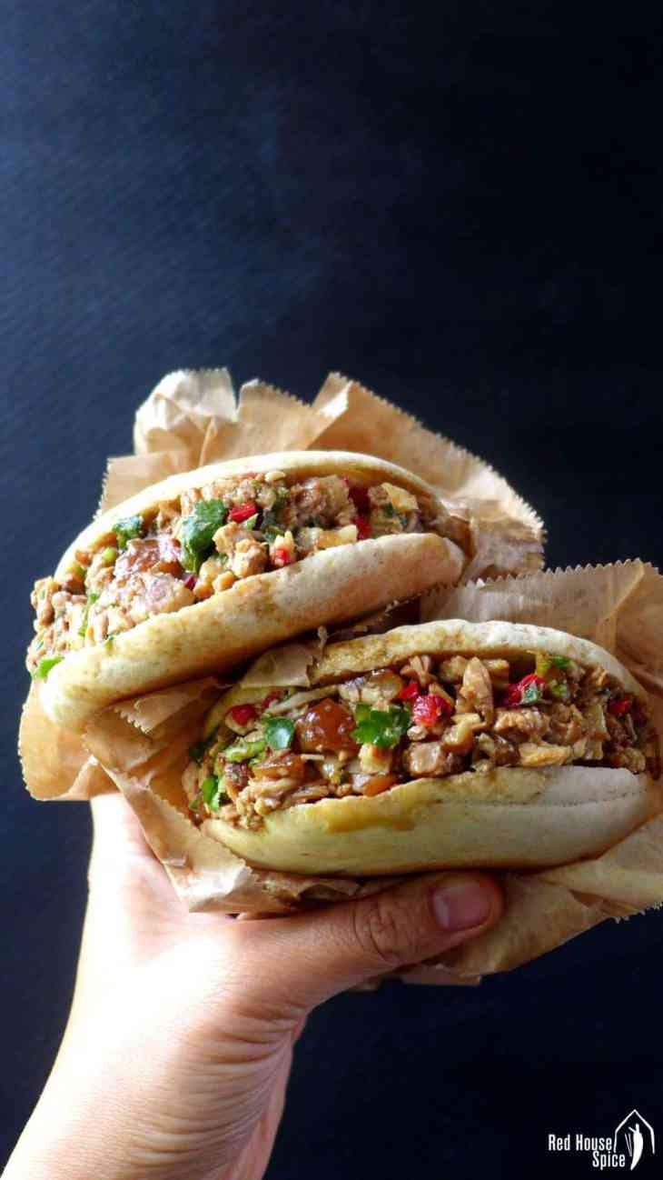 A simple pan-baked flatbread stuffed with spiced pork belly, fresh coriander and chilli, Chinese pork burger is tangy, flavourful, moist and extremely comforting.