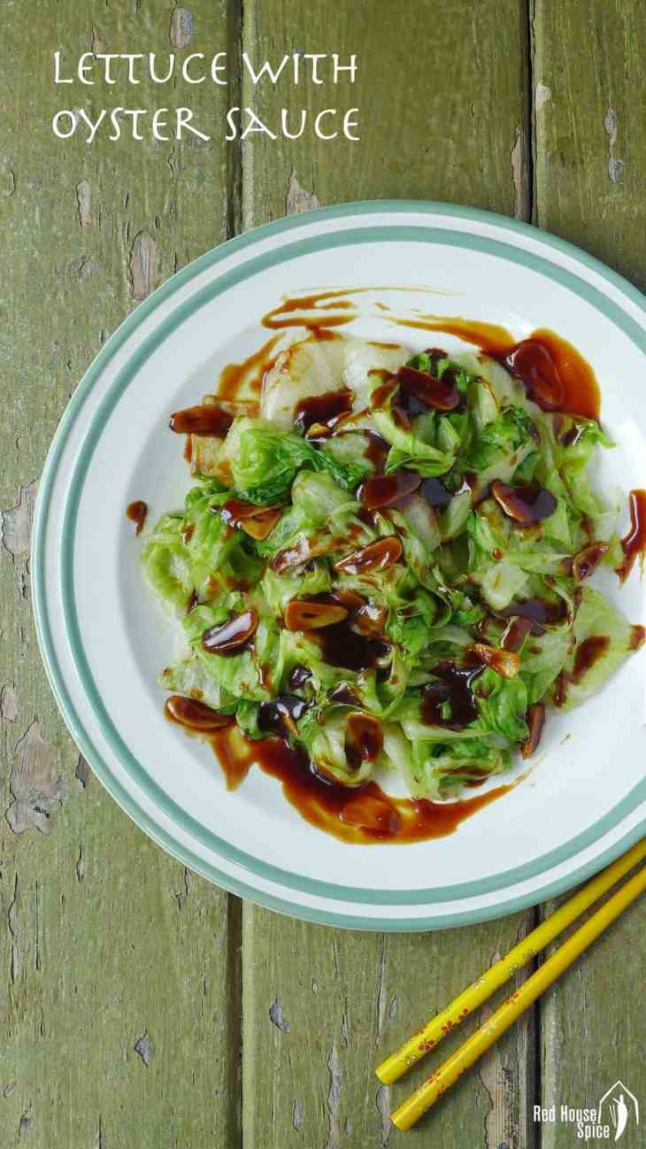 Briefly blanched lettuce topped with a tasty, sticky sauce, iceberg lettuce with oyster sauce is a classic Chinese dish that gives plain vegetable an appetizing tone.