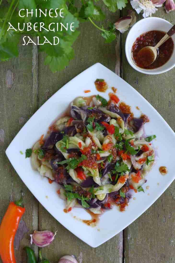 A plate of aubergine salad flavoured with garlic, chilli, vinegar, etc.