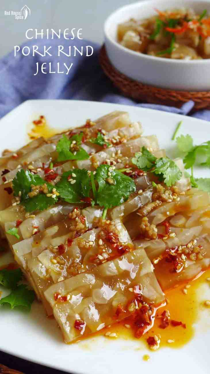 Slippery, springy and spicy, Chinese pork rind jelly is truly a delight to enjoy. There is no commercial gelatin involved and it's very simple to prepare.