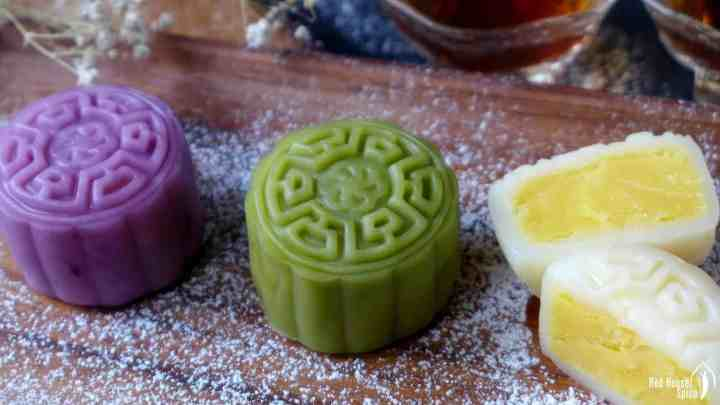 Colourful snow skin mooncakes with custard filling
