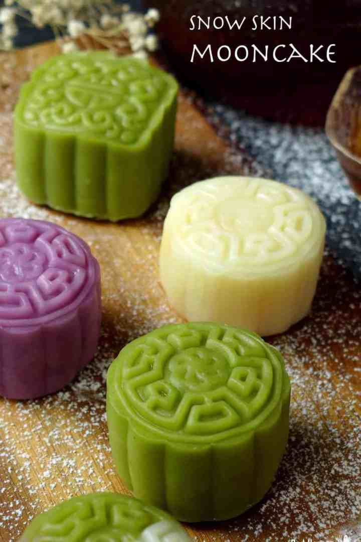 Snow skin mooncake in three colours: green, white and purple.