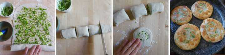 Procedure of making scallion pancakes