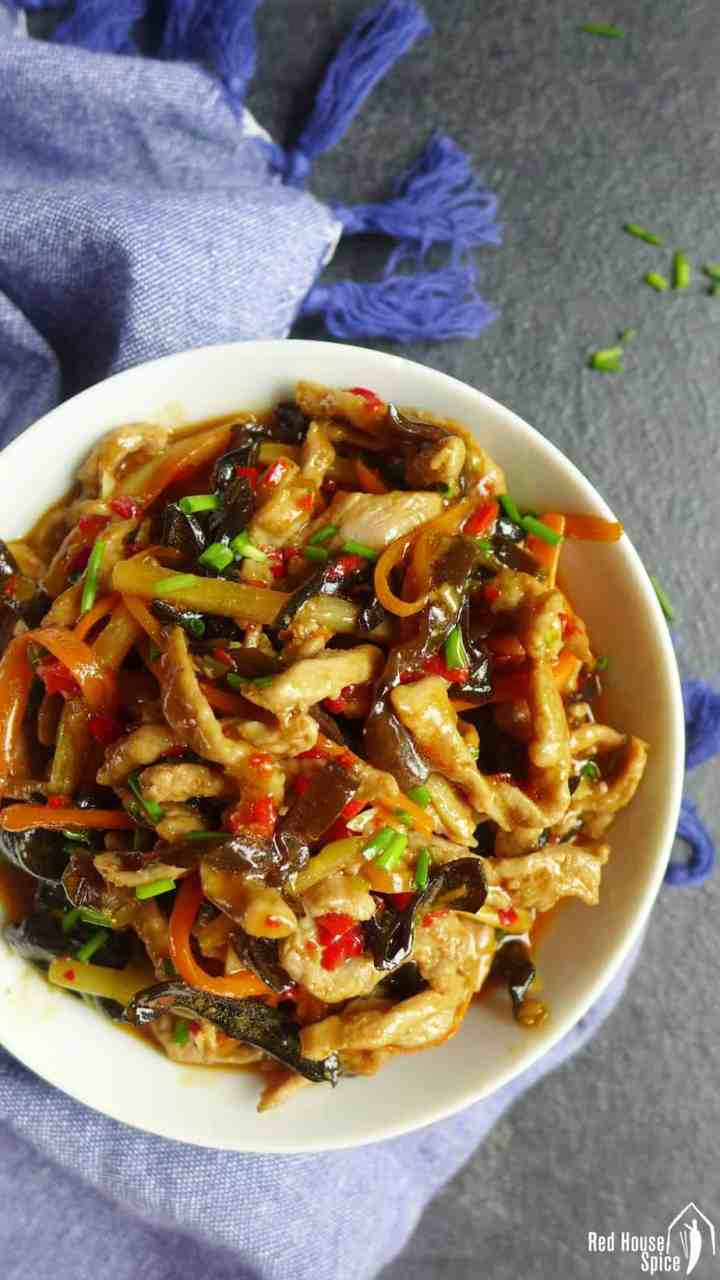 A bowl of shredded pork stir fry