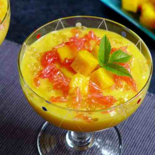 A landscape photo of mango sago dessert.