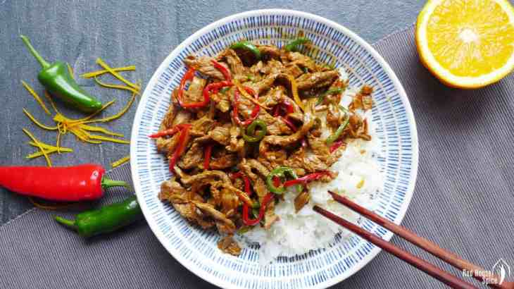 Spicy orange beef stir fry (橙味牛肉)