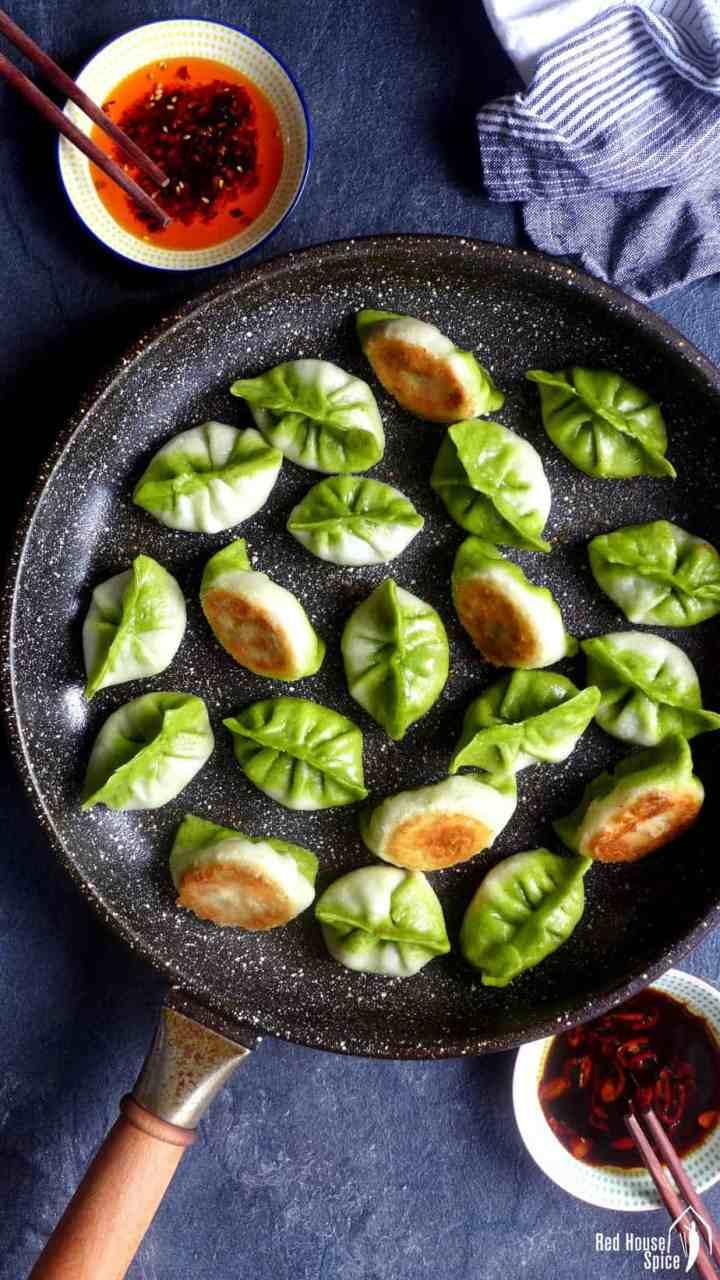 pan-fried vegetarian dumplings in two colours