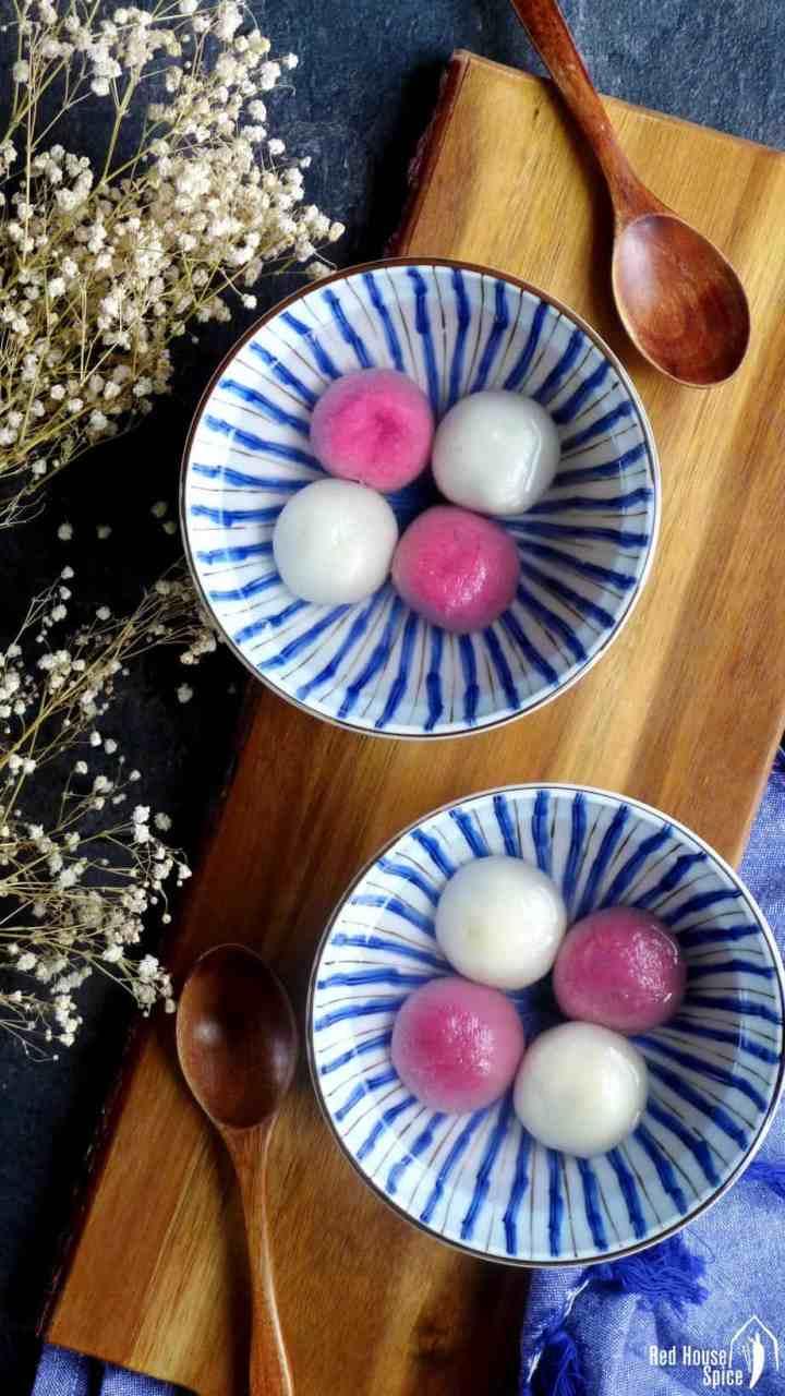 Two bowls of Tang Yuan (Chinese glutinous rice balls).