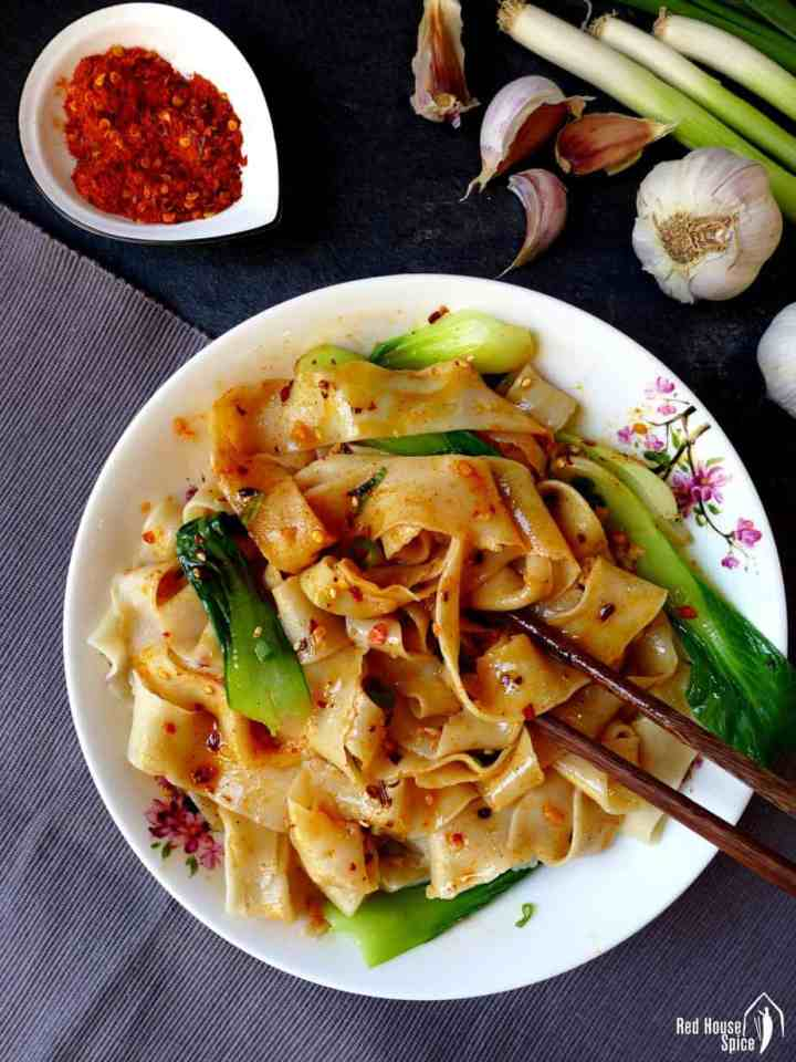 A plate of Xi'an Biang Biang noodles