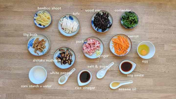ingredients for making hot & sour soup