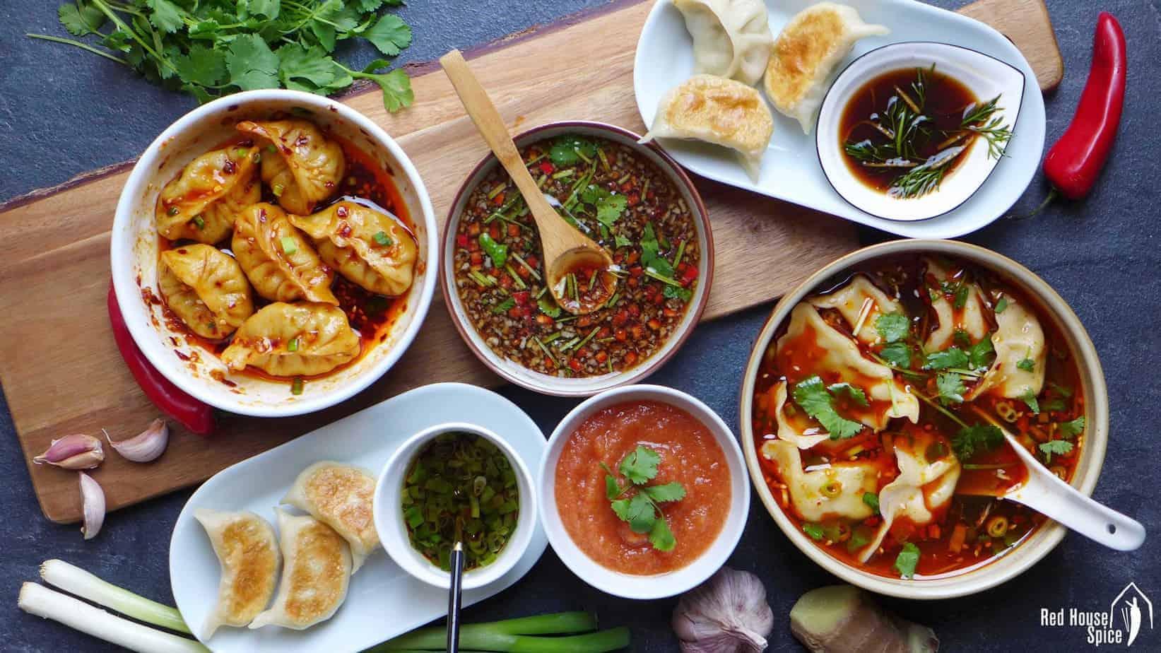 Six dumpling sauces