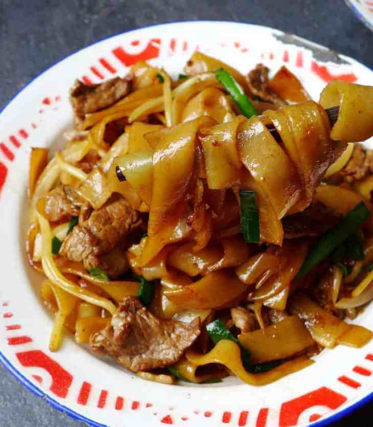 A plate of Cantonese Beef chow fun.
