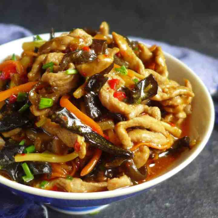 A bowl of Sichuan style shredded pork with garlic sauce