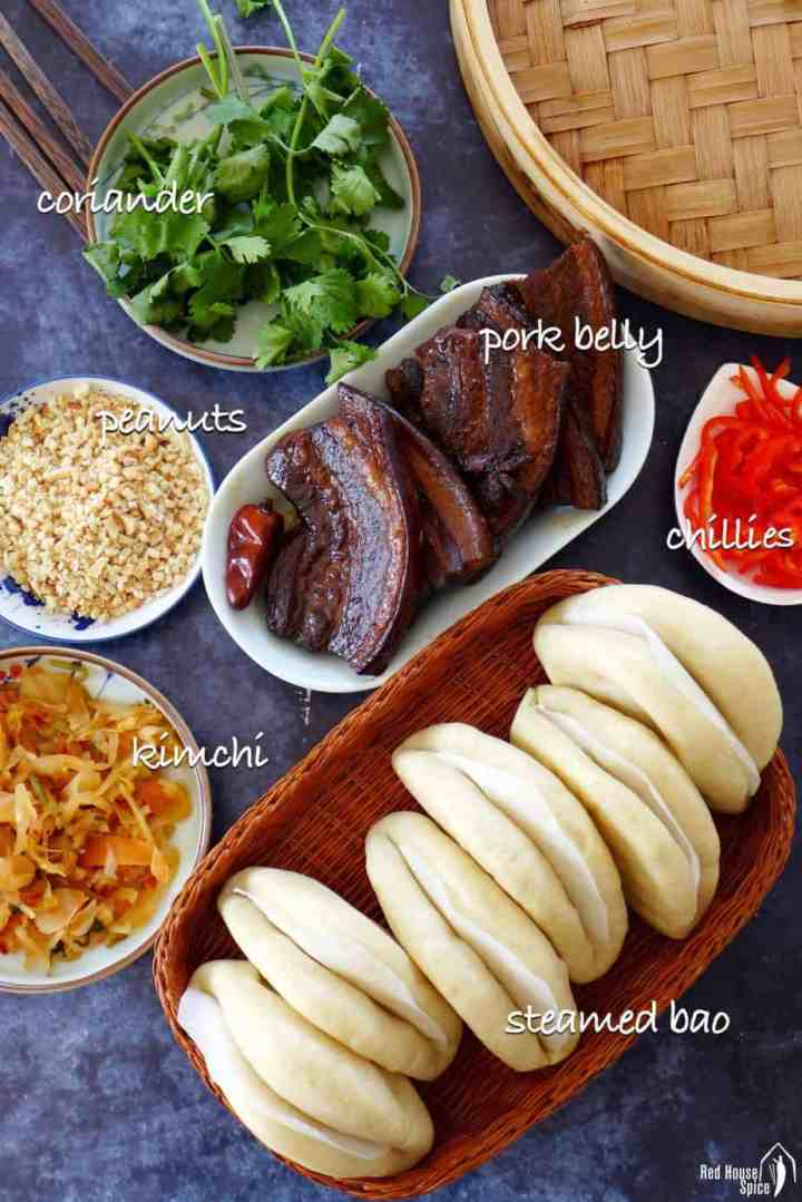 Ingredients for making pork belly buns.