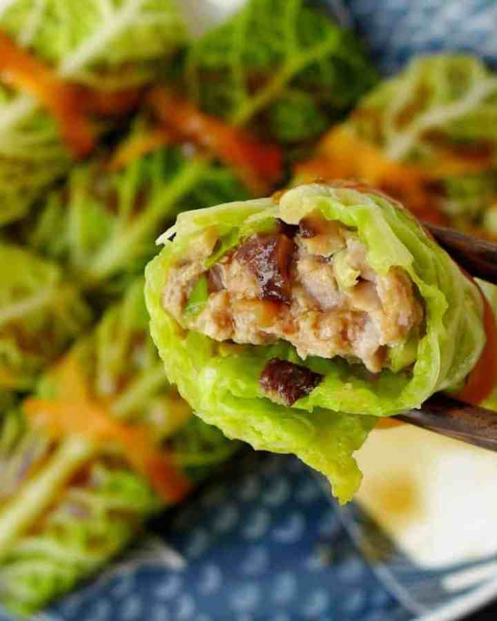 A cabbage roll filled with pork & mushrooms