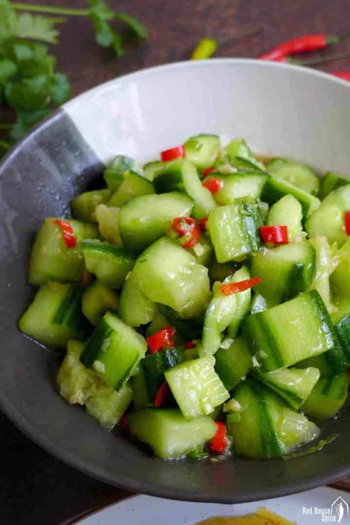 Chinese smashed cucumber salad with garlic dressing