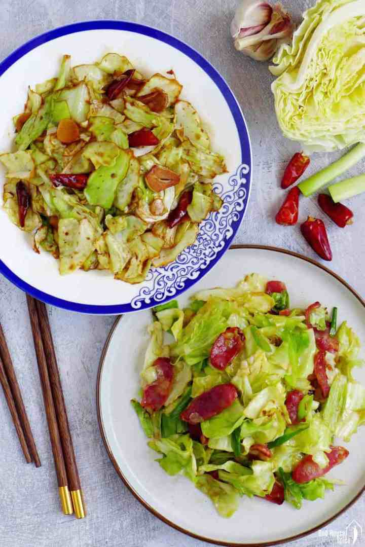 Two plates of Chinese cabbage stir-fry