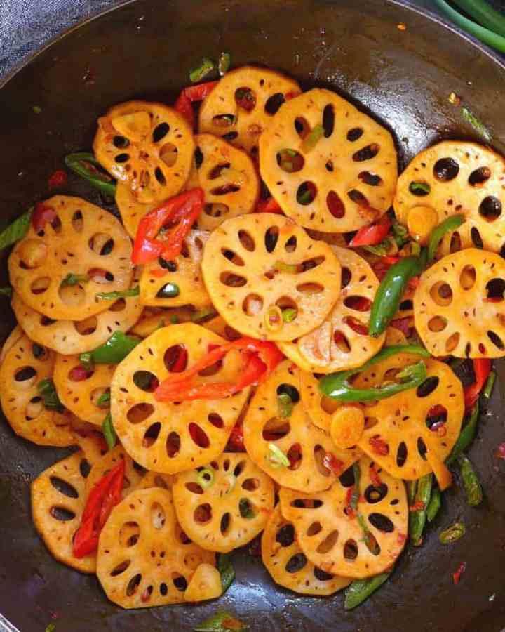lotus root stir-fry in a wok
