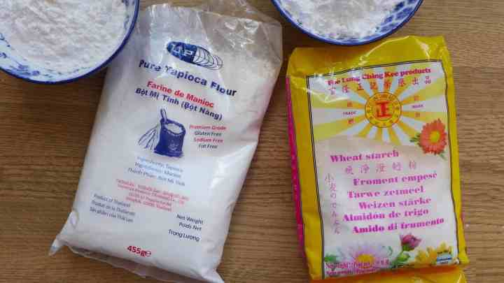 A bag of tapioca starch & a bag of wheat starch